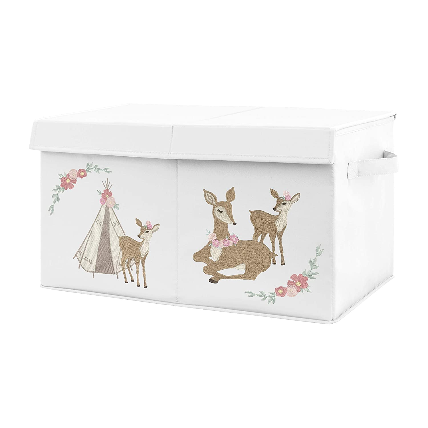 Sweet Jojo Designs Blush Pink, Mint Green and White Boho Girl Baby Nursery or Kids Room Small Fabric Toy Bin Storage Box Chest for Woodland Deer Floral Collection