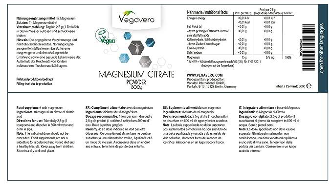 Citrato de Magnesio en polvo de Vegavero | Suplemento de energía + Reducir cansancio + Migrañas + Calambres + Relajante muscular + Salud de huesos, ...