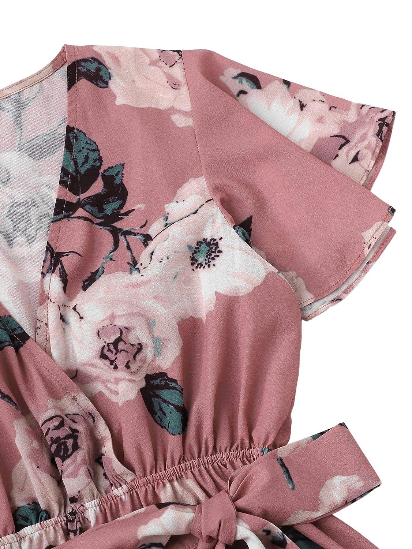 DIDK Mujer Mono pantal/ón Corto Cruzado Floral Cuello en v o Pico Jumpsuit