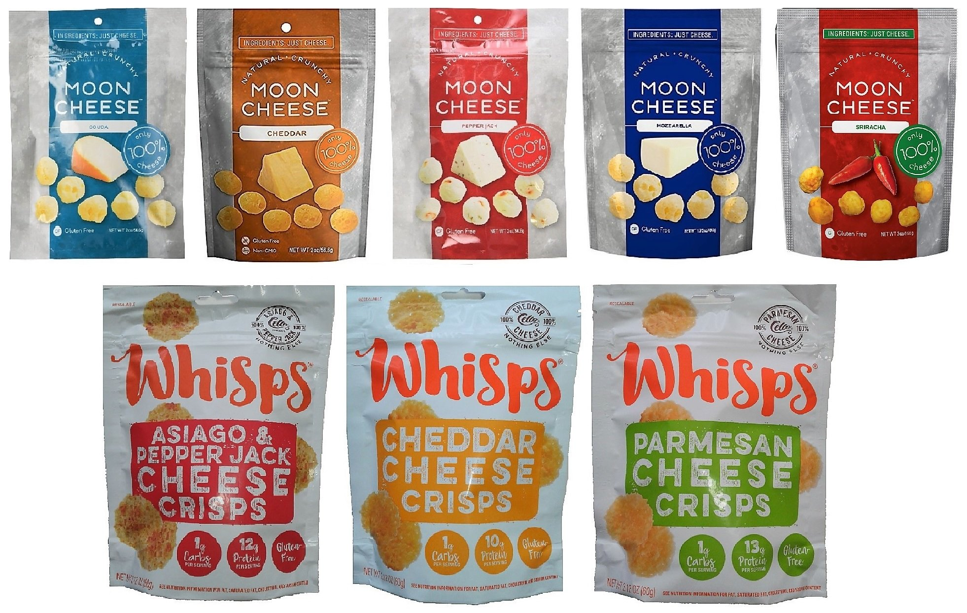8 Pack Low Carb Crunchy Snack Assortment - Moon Cheese (5 flavors) and Cello Whisps Crisps (3 flavors) by Moon Cheese