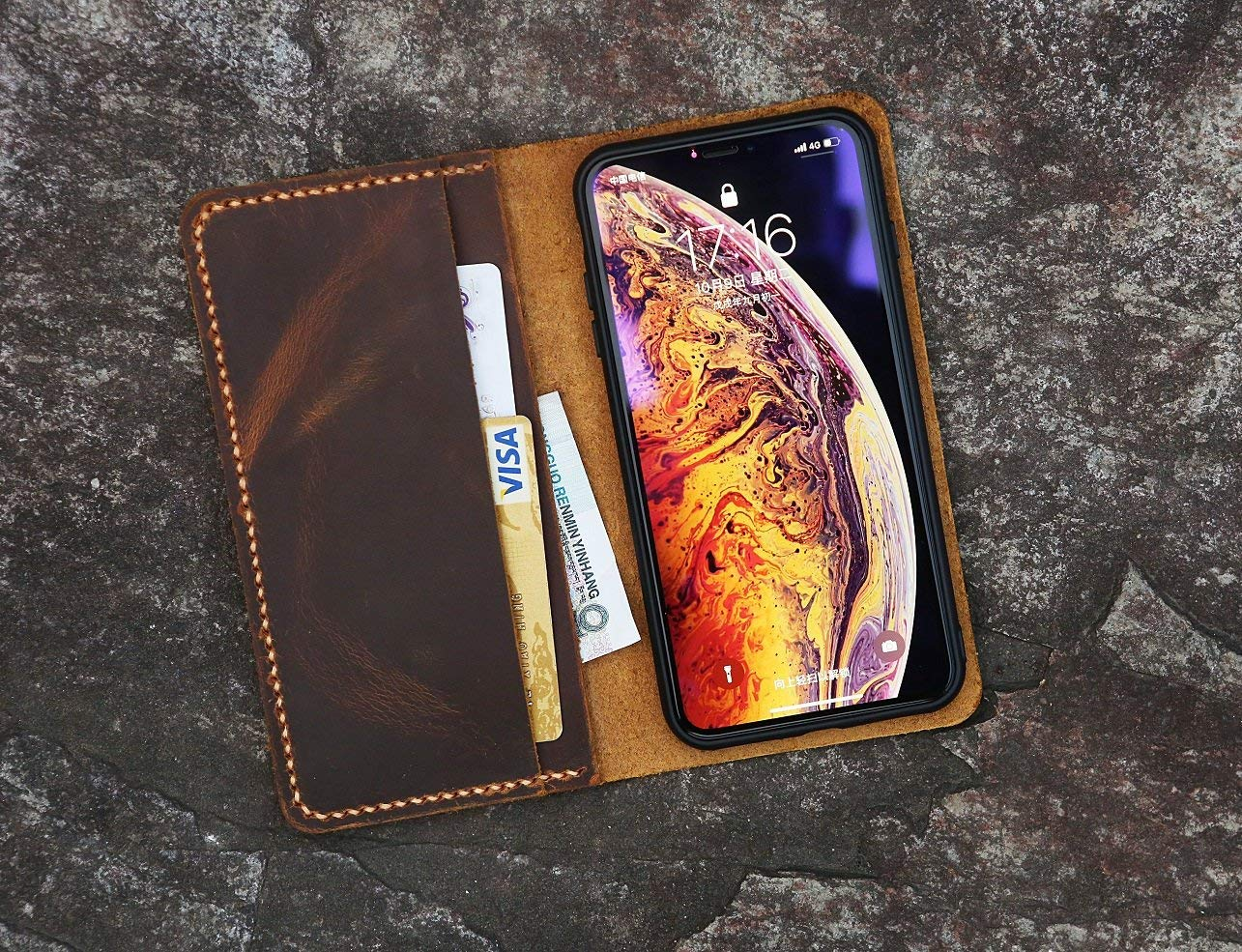Distressed Vintage Brown Leather iPhone XS XR wallet case/real leather iPhone XS Max Wallet Case -IP005W