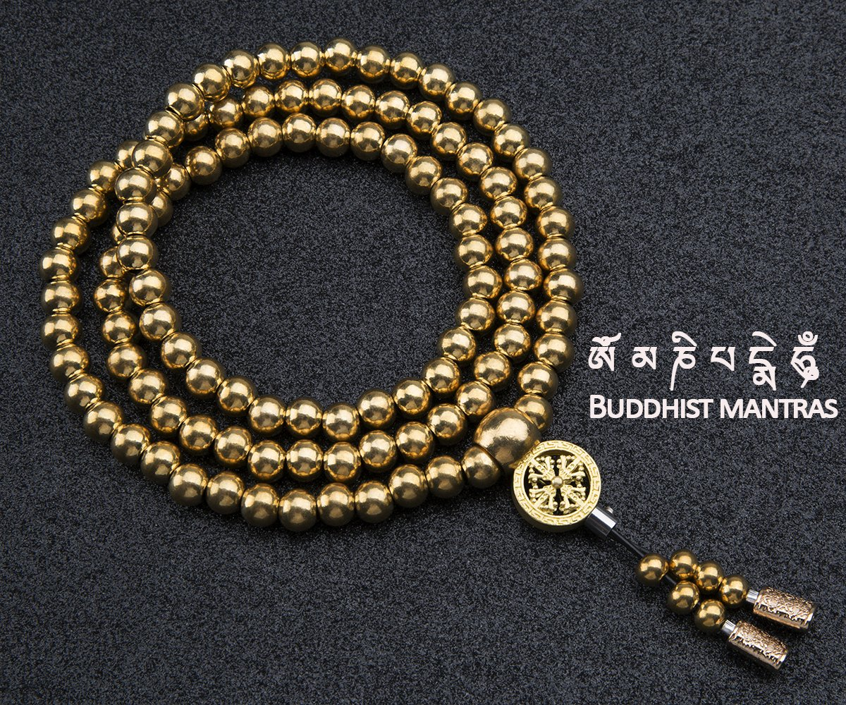 Outdoor Stainless Steel Titanium 108 Buddha Beads Necklace Chain Self Defense FG