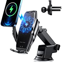 Wireless Car Charger Mount -Auto-Clamping Smart Sensor 10W 7.5W Qi Fast Charging Car Front Windshield Dashboard Air Vent…
