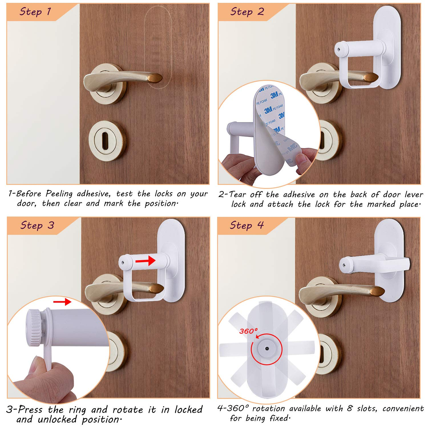 Child//Pets Proof Door Handle Lock with 3M Adhesive Child Safety Locks by AIRSPO Door Lever Lock 2 Pack