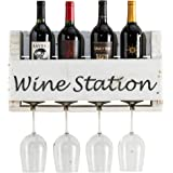 del Hutson Designs The Little Elm Wine Rack w/Quote USA Handmade Reclaimed Wood, Wall Mounted, 4 Bottle 4 Long Stem Glass Holder (Wine Station)