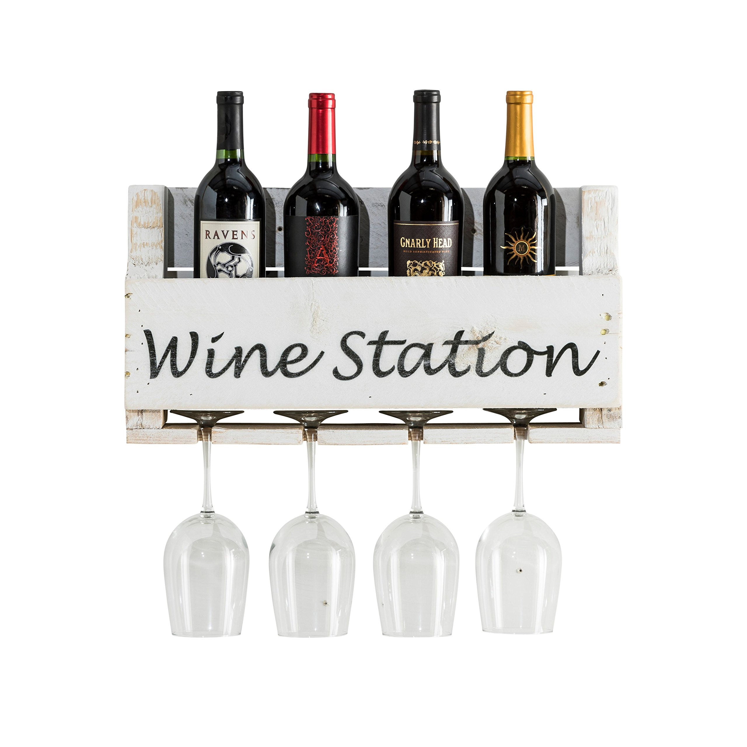del Hutson Designs The Little Elm Wine Rack w/Quote USA Handmade Reclaimed Wood, Wall Mounted, 4 Bottle 4 Long Stem Glass Holder (Wine Station)