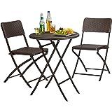 Relaxdays Gartenmöbel Set Bastian, klappbar, 3-teilig, Rattan-Optik, klein, HBT Tisch: 75,5 x 60 x 60 cm, braun
