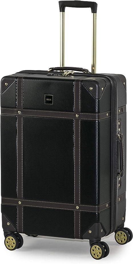 Navy Rock Vintage Suitcases Retro 8 Wheel Spinner Luggage Cream Pink //Black