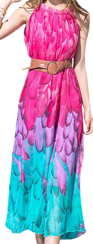 Vian Lundgaard - Damen Frauen lockeres langes Strand Kleid Tunika mit Federn Print, XS-M, Viele Farben