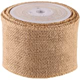DECORA 10 Yards Natural Jute Burlap Ribbon Roll for Wedding Decoration DIY Craft
