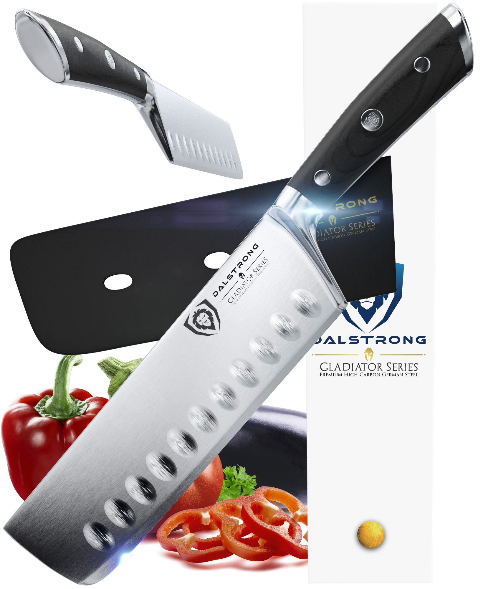 DALSTRONG Nakiri Asian Vegetable Knife - Gladiator Series - German HC Steel - 7'' (180mm)