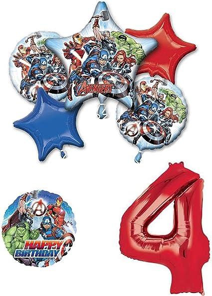 Juego De Globos De Decoración Para Fiesta De Cumpleaños De Los Vengadores De Marvel 4 Años 7 Unidades Toys Games