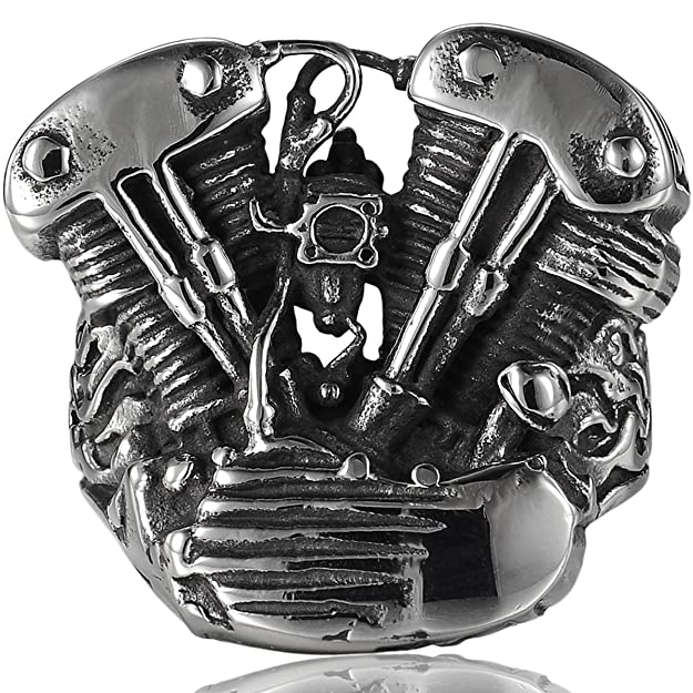 Housweety Stainless Steel Mens Ring Cool Motorcycle Engine Gothic