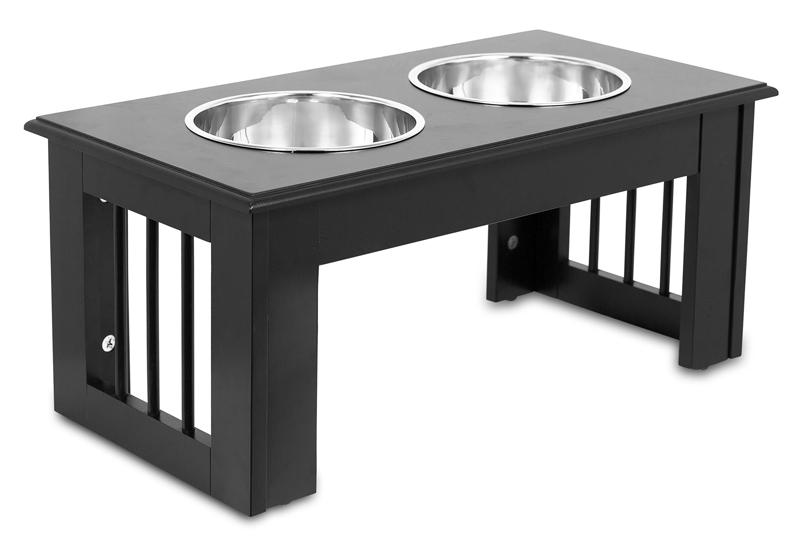Internet's Best Traditional Elevated Pet Feeder - 2 Medium Dog Bowls - Decorative Raised Stand with Double Stainless Steel Bowls - Espresso by Internet's Best