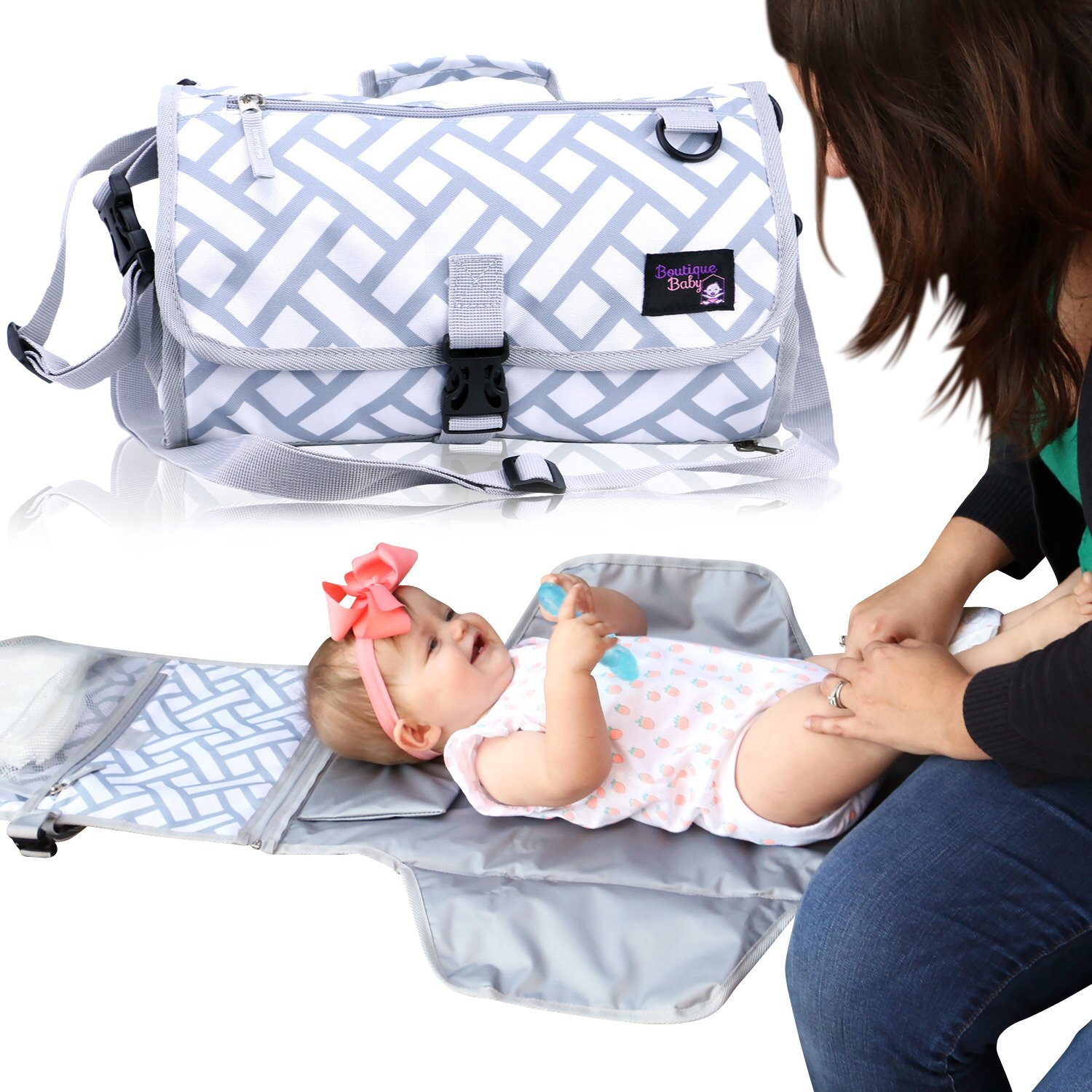 Baby Changing Pad By Boutique Baby Portable Diaper Changing Pad Station Waterproof Extra Long  Travel Clutch by Boutique Baby (Image #8)