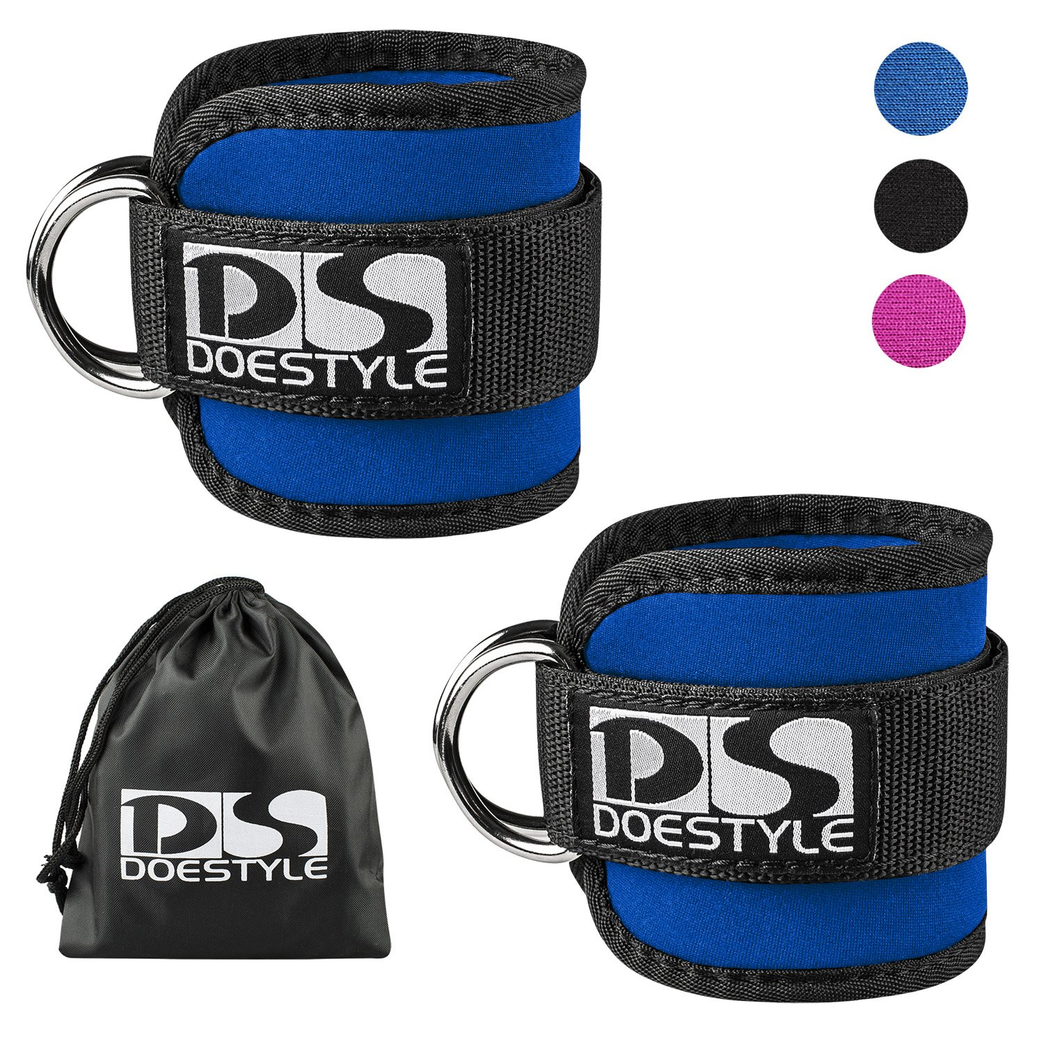 Double D-Ring Ankle Straps by Doestyle, Adjustable Fit Ankle Cuff Strap for GYM Cable Machines Workouts with Durable Cuffs for Ab, Leg & Butt Exercises Men & Women Fitness (Dual D-ring Plus, Blue)