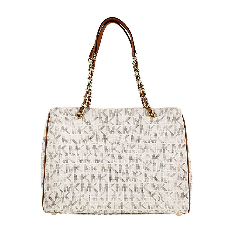 e85beb60b4 Amazon.com  MICHAEL Michael Kors Susannah Large Tote Satchel Leather Handbag  (Vanilla Acorn)  Shoes