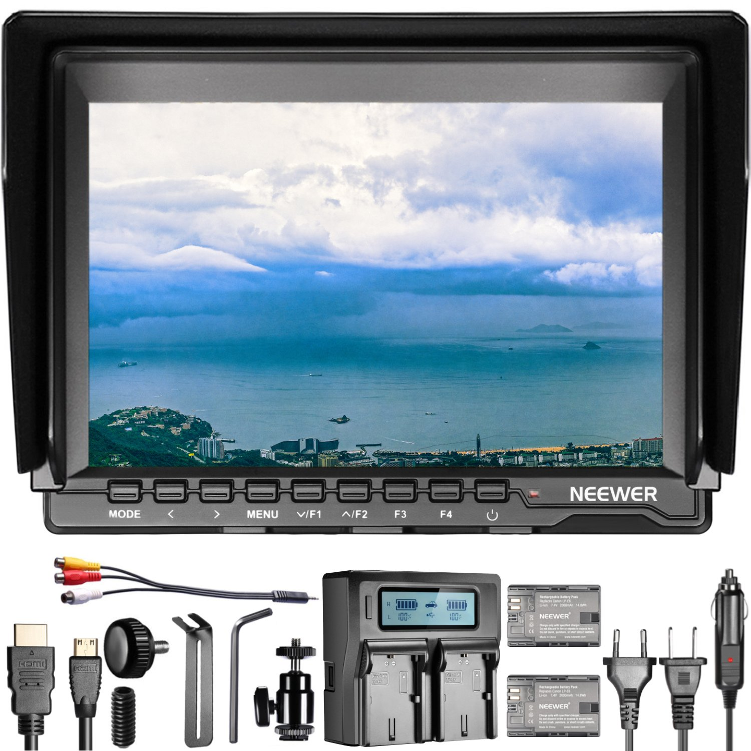 Neewer NW759(C) 7 inches Camera Field Monitor Kit: 1280x800 IPS Screen Monitor 16:10 or 4:3 Adjustable Display Ratio with Storage Carrying Case for Nikon Sony Canon Olympus Pentax Panasonic Cameras 90090688