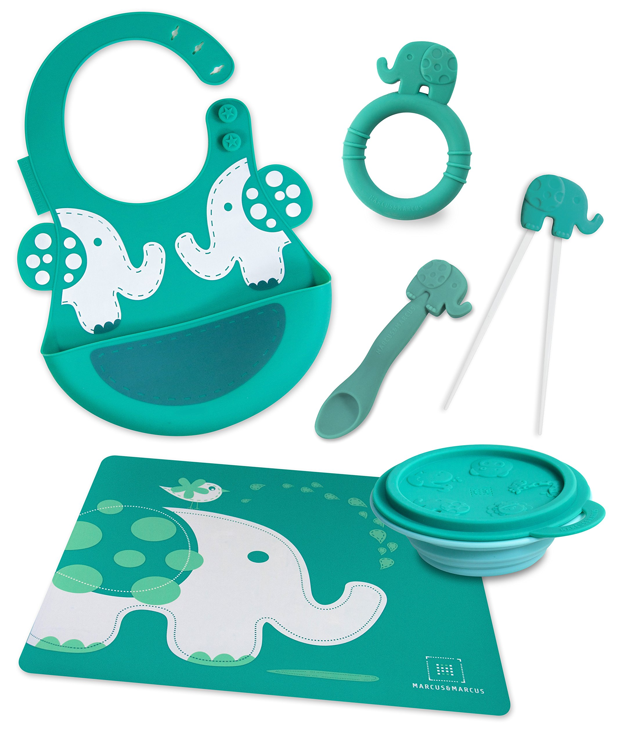 Marcus & Marcus OLLIE THE ELEPHANT Silicone Baby Feeding 6 Pack - Green by Marcus & Marcus (Image #1)