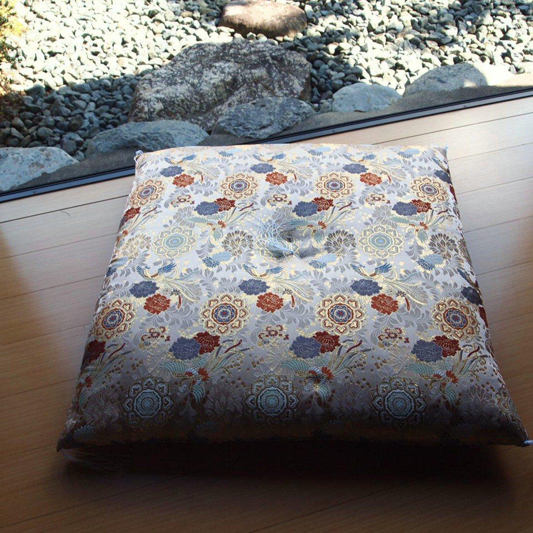 Four Seasons Handmade Japanese Brocade Fabric Zabuton Meditation Cushion 26.3× 26.7Inch(Compressed Cotton) by Four Seasons
