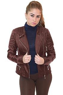 Olivia Miller Womens Faux Leather Moto Biker Jacket Pockets