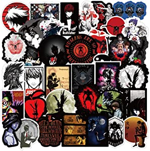 50 Pcs Waterproof Vinyl Cool Anime Death Note Stickers for Personalize Laptop, Car, Helmet, Skateboard, Luggage Graffiti Decals (Death Note)