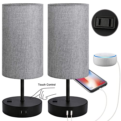 Set of 2 Touch Control Bedside Table Lamp, 3-Way Dimmable Nightstand Lamps with 2 USB Charging Ports 1 AC Outlet, ST64 E26 LED Bulbs Included, Grey Fabric Cylinder Shade Ideal for Bedroom Living Room