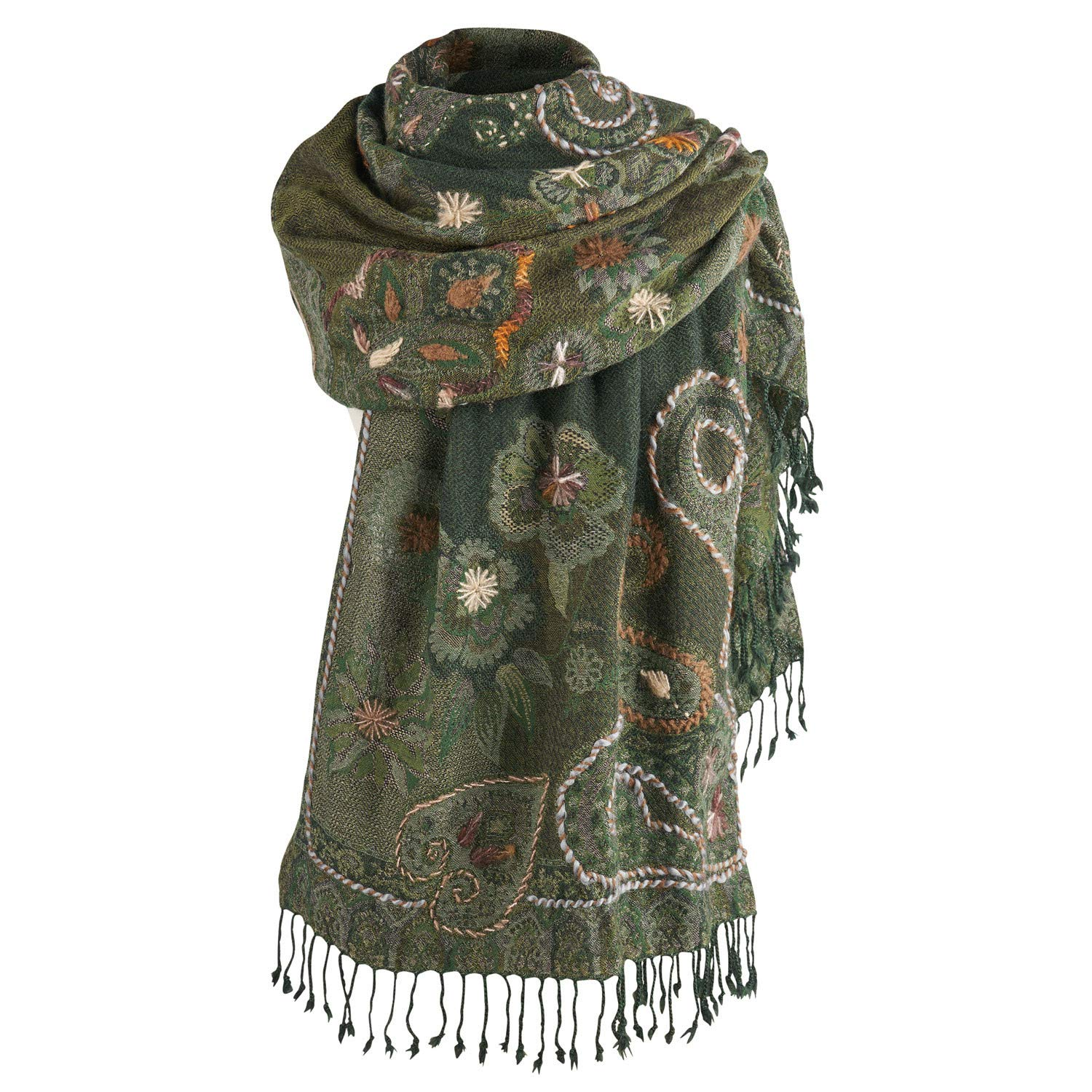 Catalog Classics Women's Emerald Green Paisley Wrap- Silk/Wool Floral Scarf Wrap by CATALOG CLASSICS