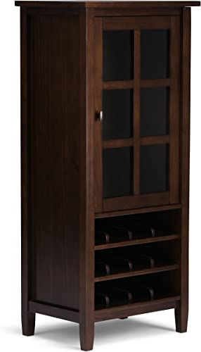 Simpli Home Warm Shaker 12-Bottle SOLID WOOD 23 inch Wide Rustic High Storage Wine Rack in Tobacco Brown