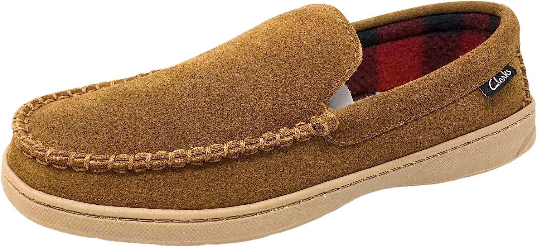 Clarks Mens Freddie Suede Moccasin House Shoe Indoor Outdoor Slip Resistant Flexible Outsole Comfort Slipper