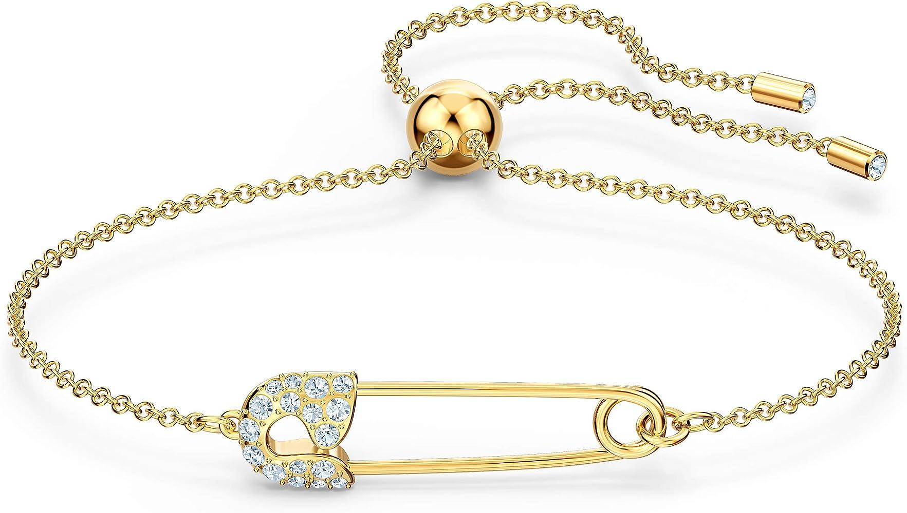 Swarovski So Cool Pin Armband, Weiß, vergoldet: