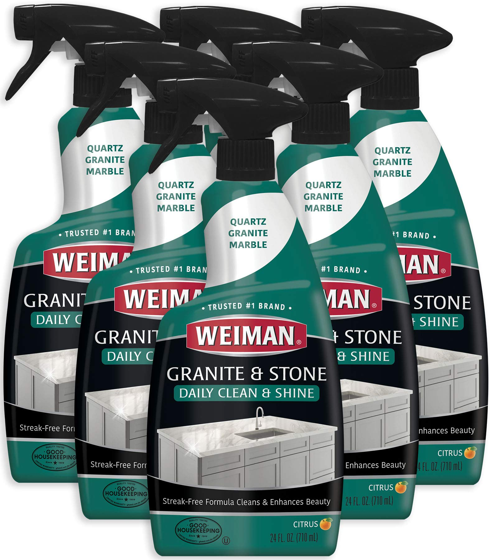 Weiman Granite Cleaner and Polish - 24 Ounce (6 Pack) Non-Toxic for Granite Marble Soapstone Quartz Quartzite Slate Limestone Corian Laminate Tile Countertop