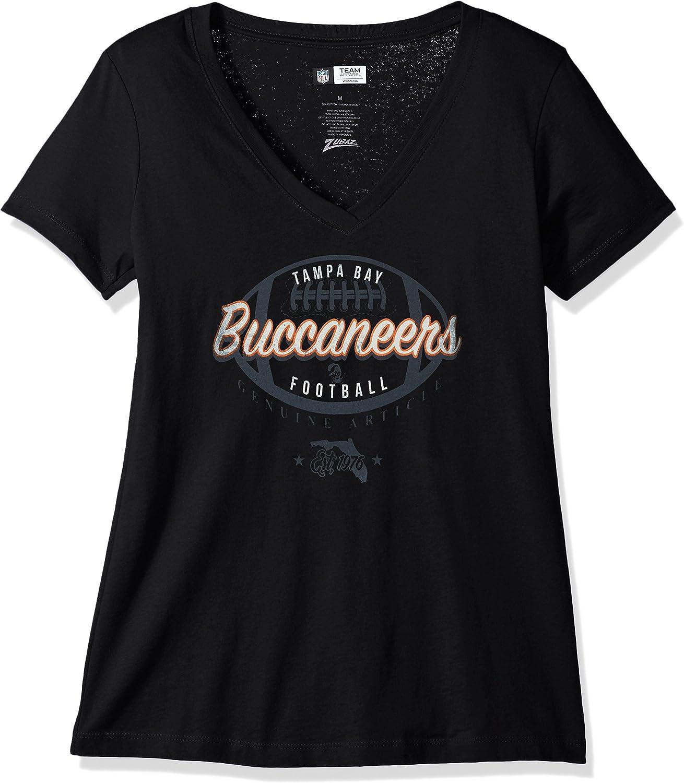 NFL Womens Zubaz Tampa Bay Buccaneers V Neck T Team Color Large