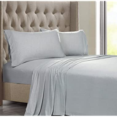 Posh Home Jersey Knit Ultra Soft Cotton T-Shirt Comfortable Breathable Cooling Cozy Unisex Dorm Back to School All-Season Bed Sheet Set (Full, Ashen Grey)