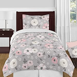 Sweet Jojo Designs Grey Watercolor Floral Girl Twin Bedding Comforter Set Kids Childrens Size - 4 Pieces - Blush Pink Gray and White Shabby Chic Rose Flower Polka Dot Farmhouse