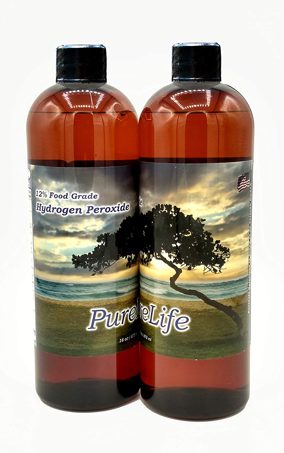 PureLife 12% Hydrogen Peroxide Food Grade - Rapid Daily Shipping - Hydrogen Peroxide 12 Percent in Distilled Water with No Added Stabilizers (32 Oz)