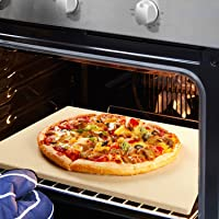 REIDEA Pizzastein Rechteckig, Schamottsteine für Backofen | Gasgrill | Grill,Ofen Brotbackstein Set aus Cordierit, Pizza Stone mit Pizzaschaufel/Pizzaschieber (40,6 X 35,6 X 1,3 cm)