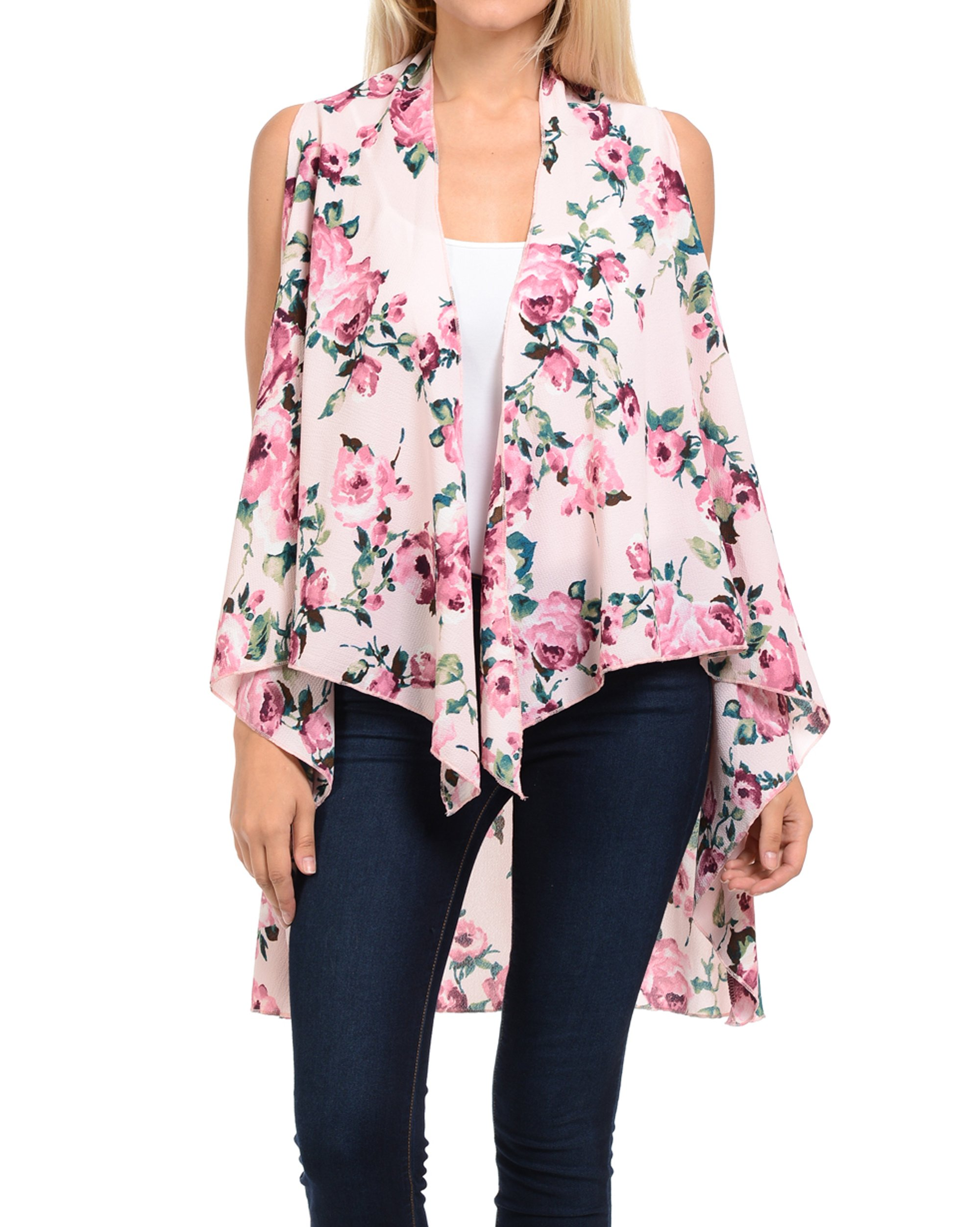 Triple9shop Women's Open Asymmetrical Hem Vest Cardigan (Large/ Xlarge, Crepe- Pink)