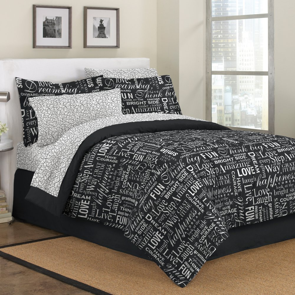 First At Home Live Love Laugh Comforter Set, King, Black