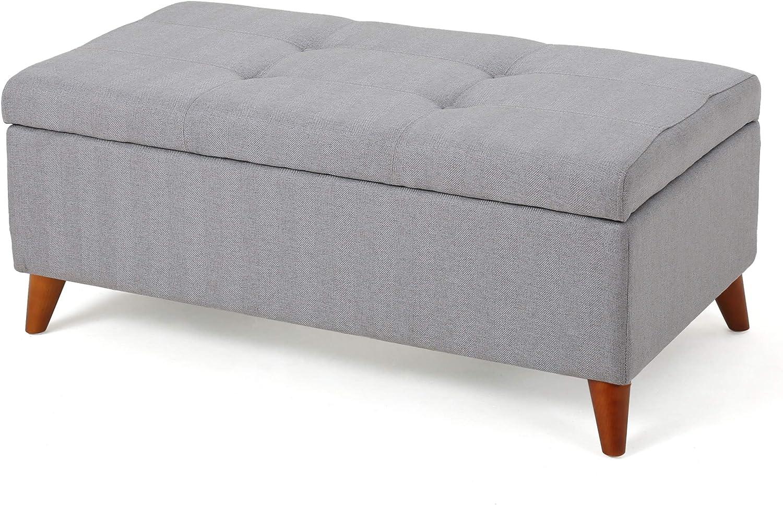 Christopher Knight Home Harper Fabric Storage Ottoman, Light Grey
