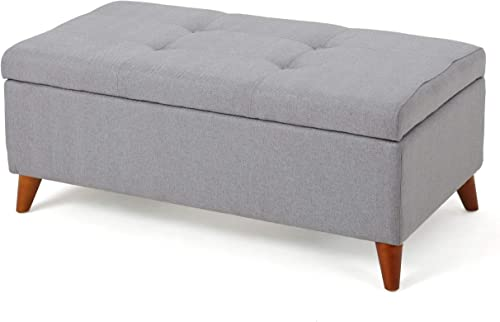 Christopher Knight Home Harper Fabric Storage Ottoman, Light Grey