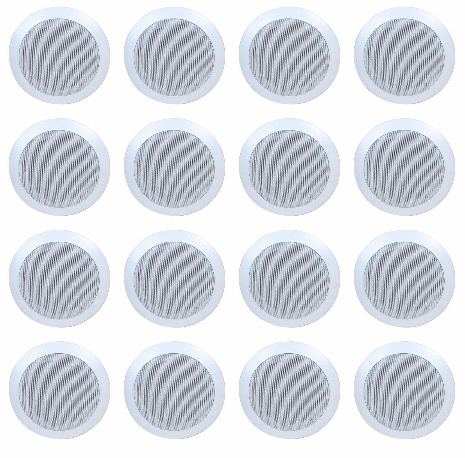 Lot of 16 (8 Pairs) Fully Enclosed 6.5'' In-Wall / Ceiling Speakers - Contractors Lot