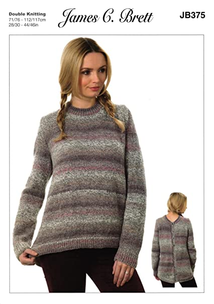 7b74a54e5c92 James C Brett JB375 Knitting Pattern Womens Sweater with Back Fastening in  Marble DK  Amazon.co.uk  Kitchen   Home