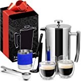 French Press Complete 7 Piece Premium Gift Set Stainless Steel, 34oz 1L (4 Coffee Cups), Milk Frother & Pitcher, 2x Espresso Glasses, 3x Mesh Screens,1x Coffee Scoop & Bag Clip, Coffee Maker