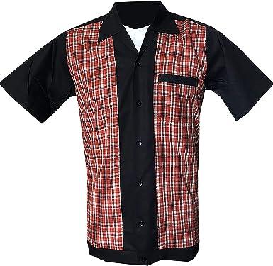 Rockabilly Fashions - Camisa casual - Cuadros - para hombre negro, rojo y blanco 3XL: Amazon.es: Ropa y accesorios