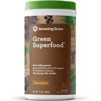 Amazing Grass Green Superfood: Organic Wheat Grass and 7 Super Greens Powder, 2 servings of Fruits & Veggies per scoop, Chocolate Flavor, 60 Servings