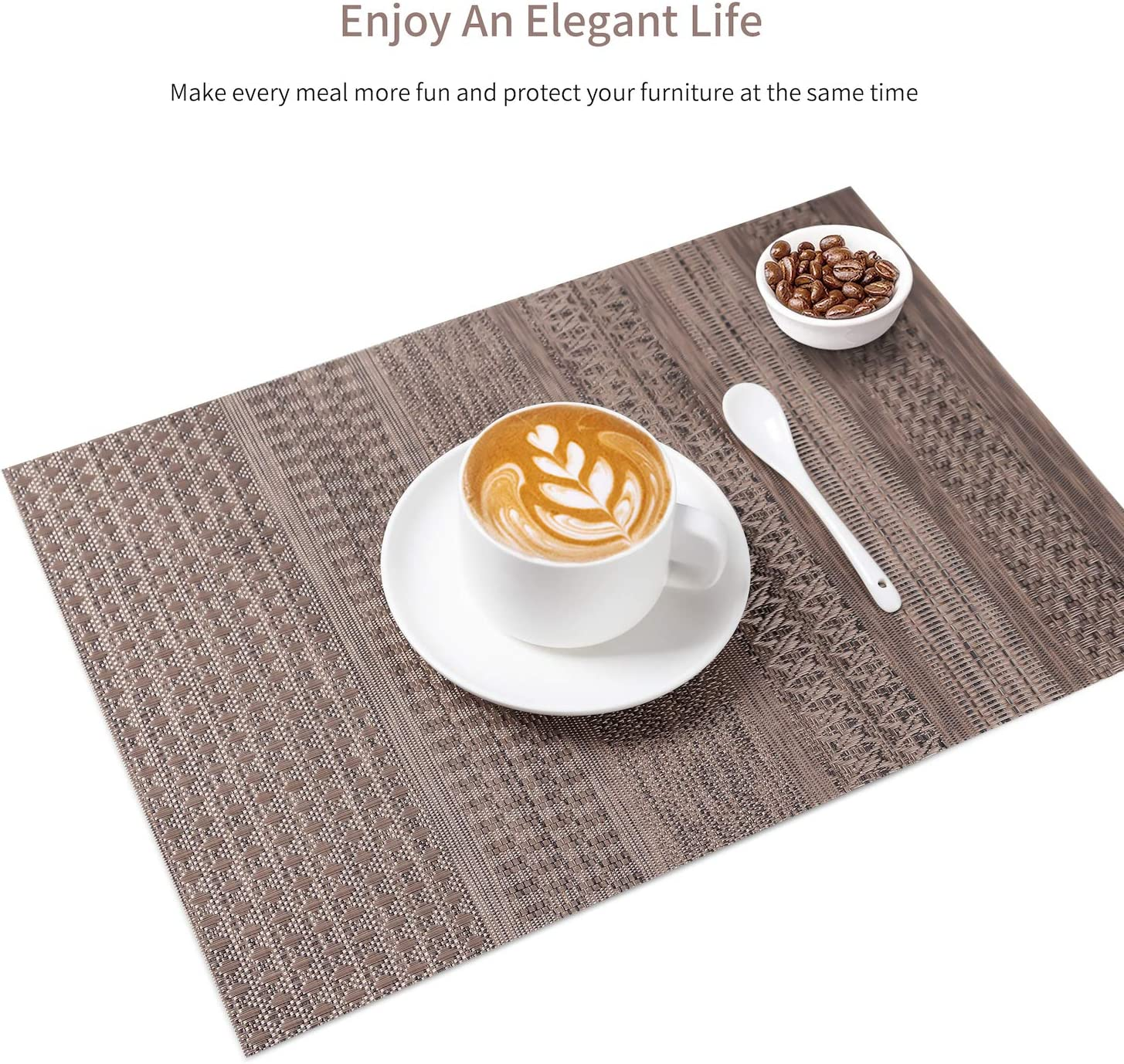 SD SENDAY Placemats, Set of 8 Heat-Resistant Placemats Stain Resistant Anti-Skid Placemats for Kitchen Table, Washable Durable PVC Table Mats Woven Vinyl Placemats: Home & Kitchen