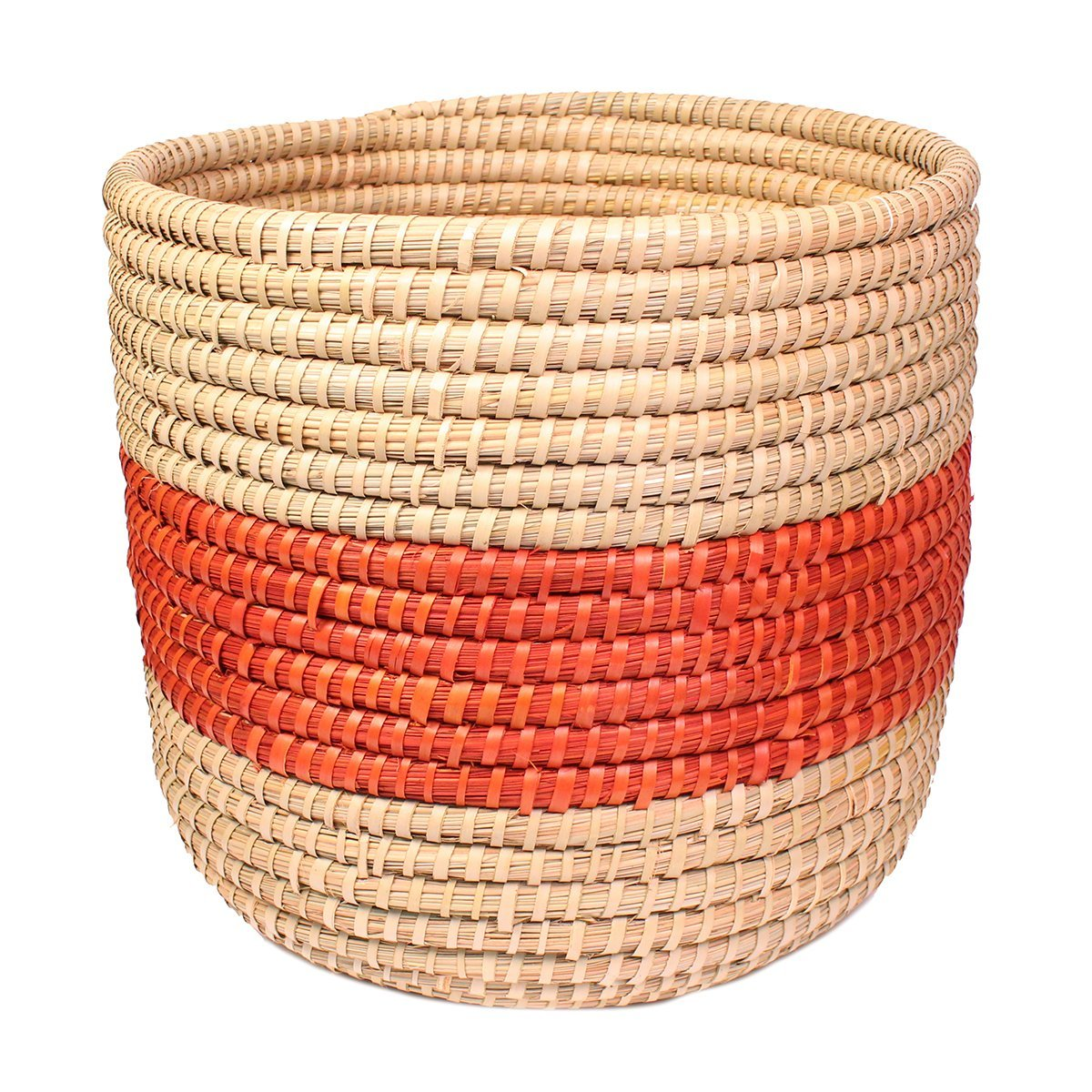 Fair Trade Orange Singular Stripe Round Basket from India