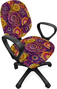 Ambesonne Vintage Office Chair Slipcover, Traditional Paisley Motifs Pattern Oriental Design Flower Ornaments Curvy Antique, Protective Stretch Decorative Fabric Cover, Standard Size, Purple Yellow