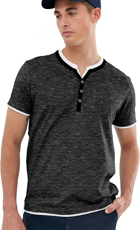 URRU Mens Fashion Casual Front Placket Short Sleeve Henley T-Shirts Summer Shirts